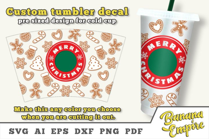 Christmas Gingerbread cold cup decal svg, Christmas Svg