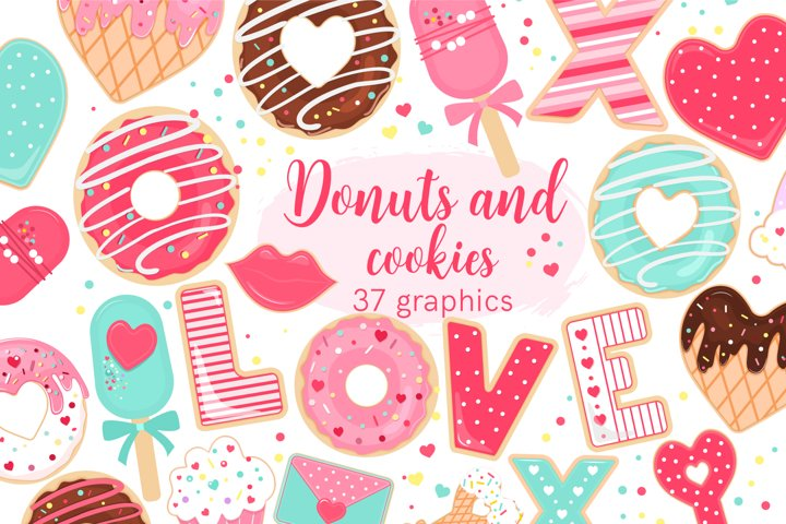 Valentine donuts and cookies clip art