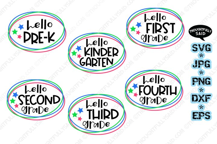 Hello School 6 pack SVG cut file JPG PNG DXF EPS designs