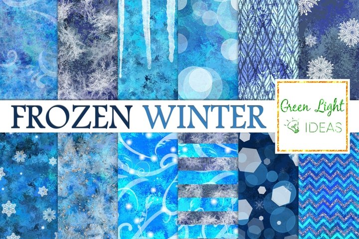 Frozen Winter Digital Papers, Snow Backgrounds, Icy Textures