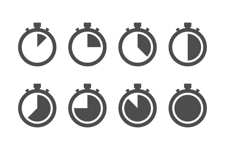 Timer stopwatch icon set