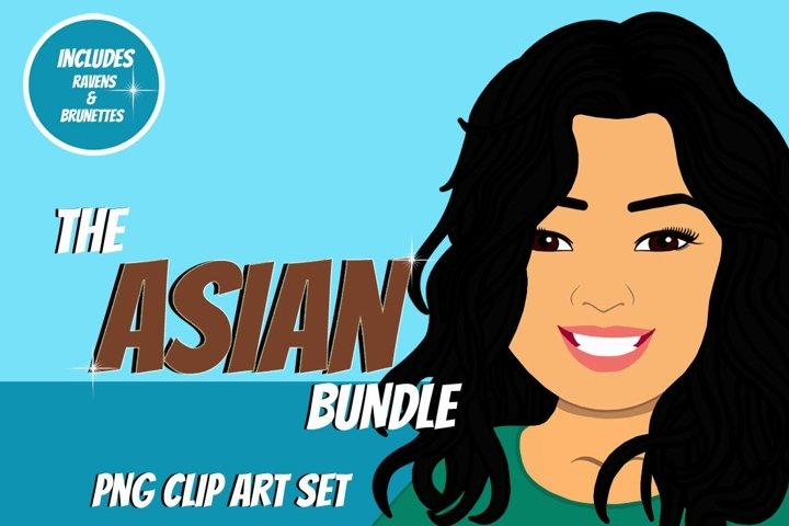 Asian Woman Clip Art Bundle | Female Avatar | Graphic