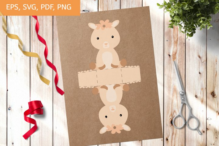 Cute Gift Package Alpaca Template SVG, Gift Box SVG