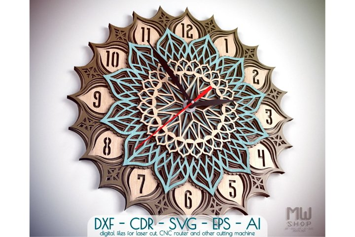 C23 - Wall Clock for Laser cut, Mandala Clock DXF pattern