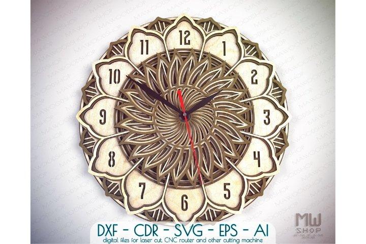 Download C39 Laser Cut Wall Clock Dxf Mandala Clock Wooden Clock 1058802 Laser Engraving Design Bundles