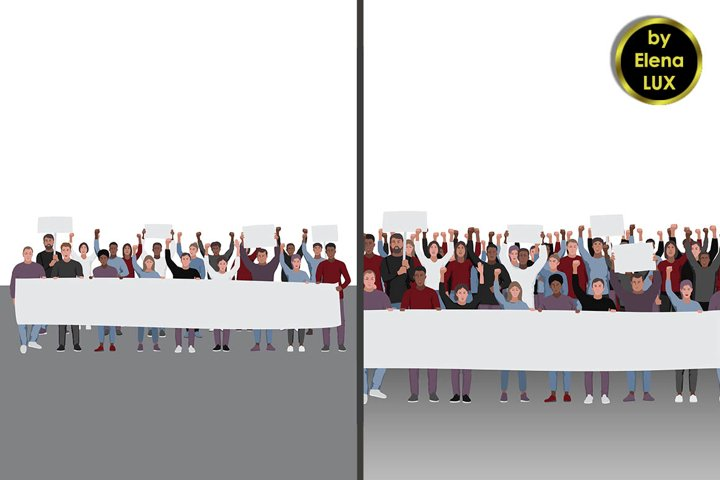 Protesting people and Seamless pattern