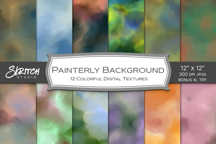 Painterly Background - 12 Colorful Digital Textures