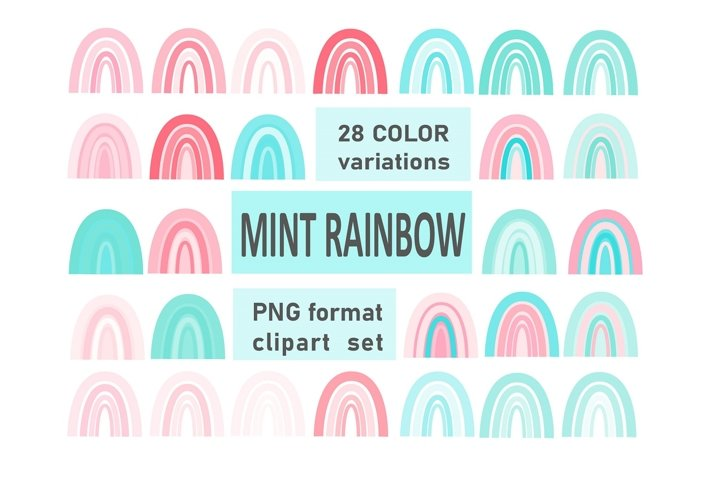 Mint Rainbow clipart, PNG printable set, 28 elements