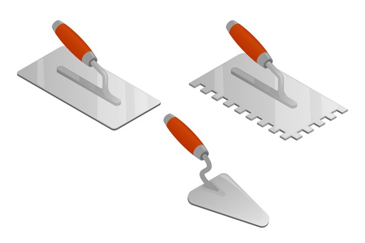 Set of realistic vector bricklayer and stucco trowels.