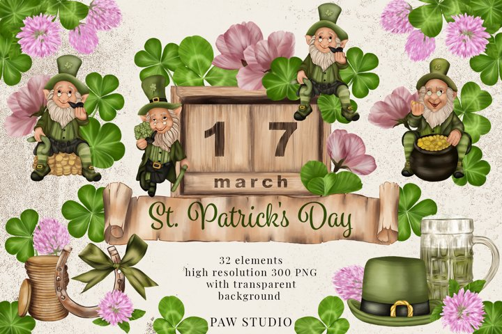 St. Patricks Day Clipart Leprechaun Shamrock Clover