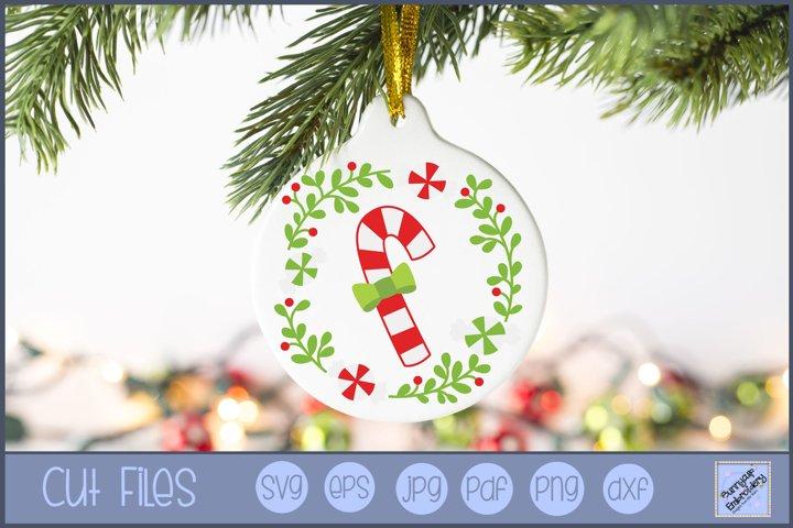 Candy Cane Christmas Laurel SVG | Christmas SVG