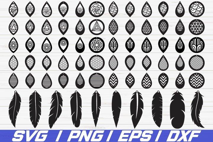 Earrings Bundle SVG/ Leather Earring/ Teardrop/ Cut File/