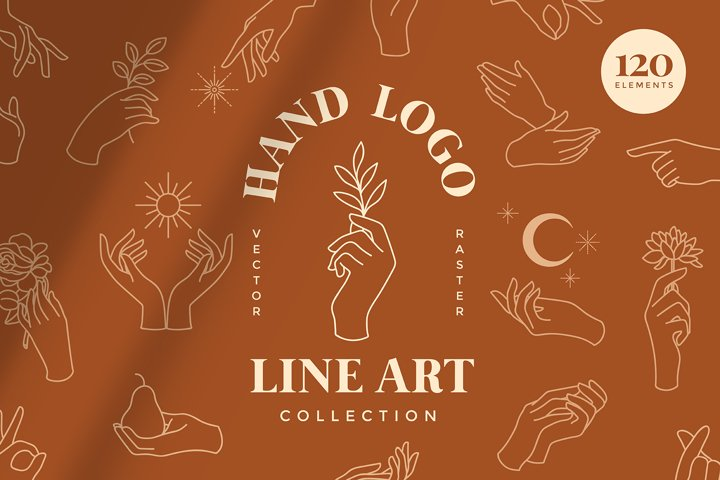Hand Logo Line Illustrations