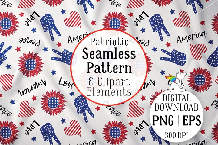 Pattern Patriotic flags, Sunflower America, 4th of july