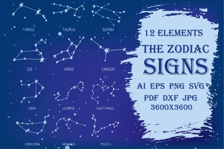 The Zodiac Signs constellations astrology horoscope SVG