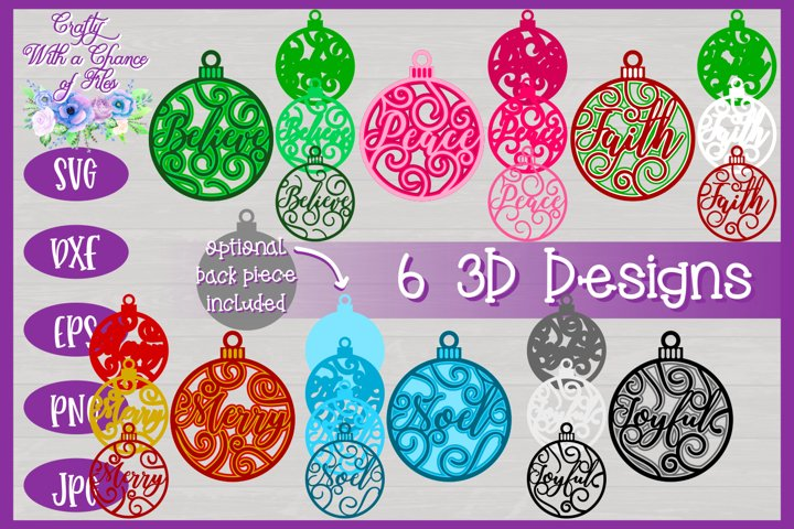 3D Layered Christmas Word Ornaments SVG | Laser Cut Designs