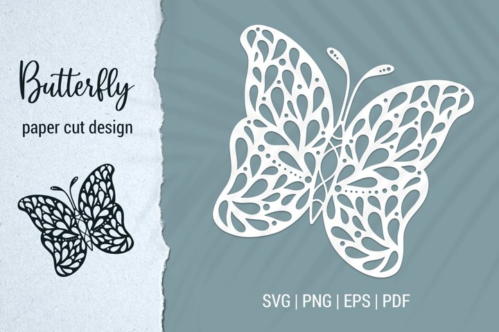 Butterfly paper cut design for Cricut and Silhouette SVG