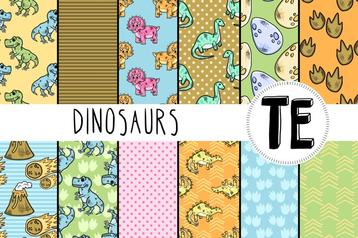 Kawaii Dinosaurs Digital Paper Pack. 12 Seamless Patterns.