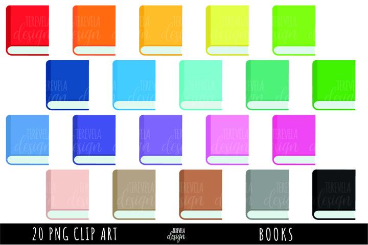 books clipart, multicolor books, school supplies