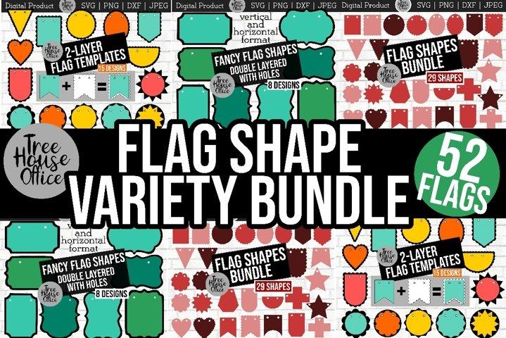 Flag Shapes Bundle Scalloped Garland Banner Template SVG DXF