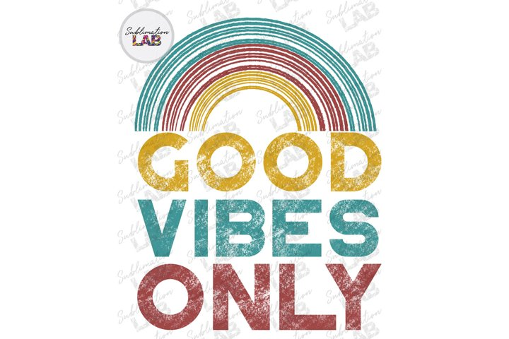Good Vibes Only Summer Sublimation Design PNG Mid Century