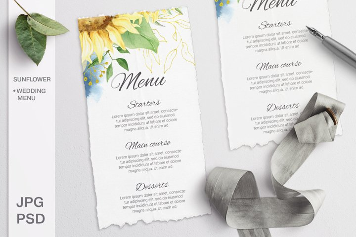 Sunflower Wedding Menu card. Editable template