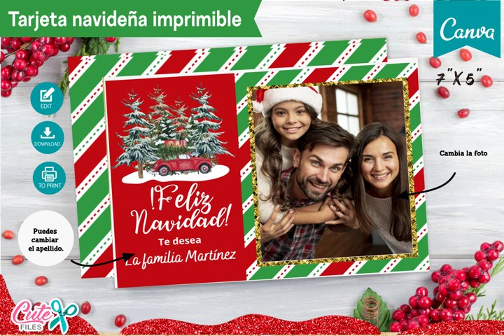Tarjeta navideña editable con Canva