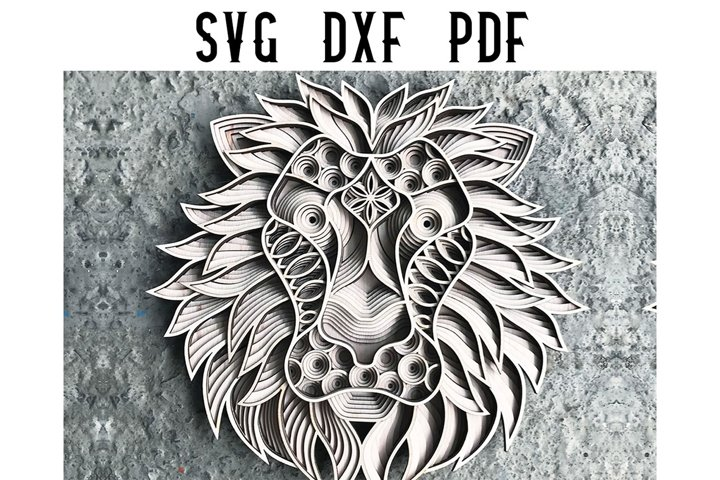 Lion Multilayer Versatile Mandala Laser Cut File- SVG DXF