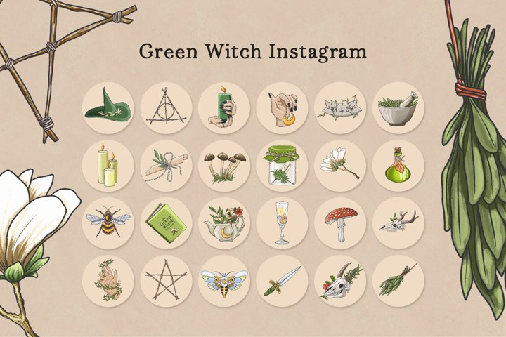 Green Witch Instagram Story Highlight Covers, Mystical Cover