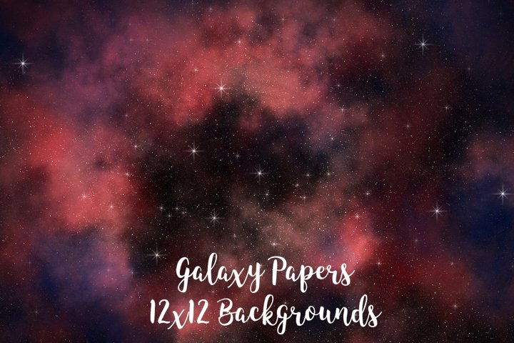 Galaxy Backgrounds, Galaxy Digital Papers 12x12 inches
