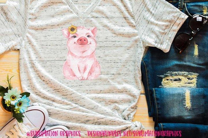 Sunflower Pig Sublimation Digital Download
