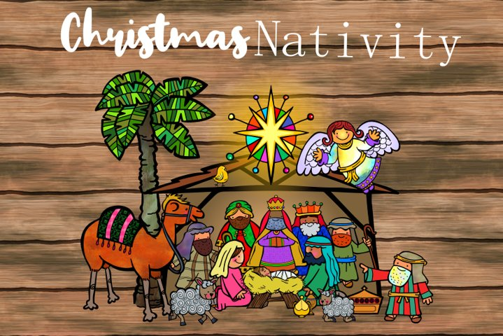 Seasonal Festive Christmas Nativity Scene Making Clipart