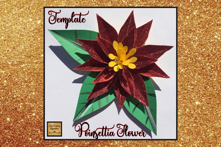 Christmas Svg, Poinsettia Flower Template, 3d Flower svg dxf