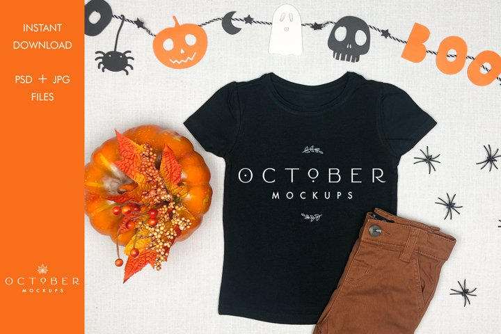 Halloween T-shirt Mockup | SVG Halloween Mockup Kids T-shirt