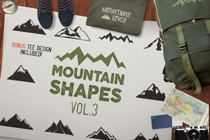 Mountain SVG Files Bundle, Cut Shapes Camp Silhouette Cricut