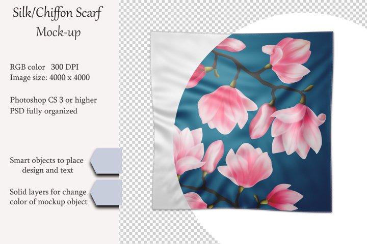 Silk, chiffon scarf mockup. PSD object mockup. Top view.