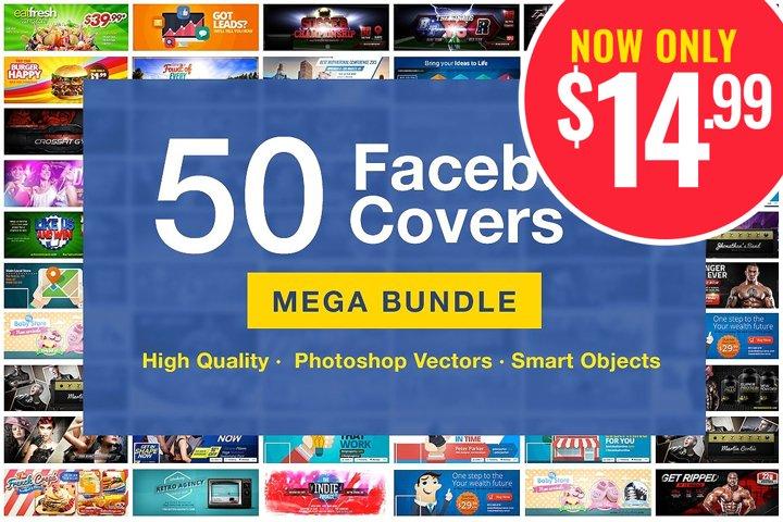 50 Facebook Covers | Photoshop Templates | Bundle