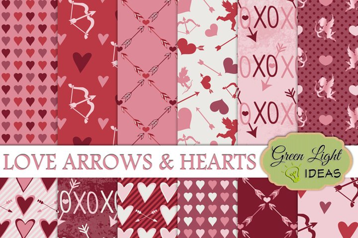 Valentines Digital Papers, Valentines Day Backgrounds, Arrows and Hearts Papers