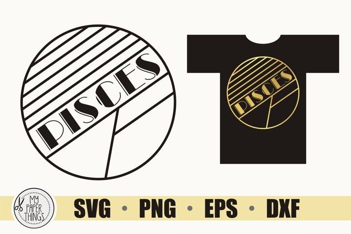 Pisces SVG, Art Deco svg, Zodiac svg, Birthday svg