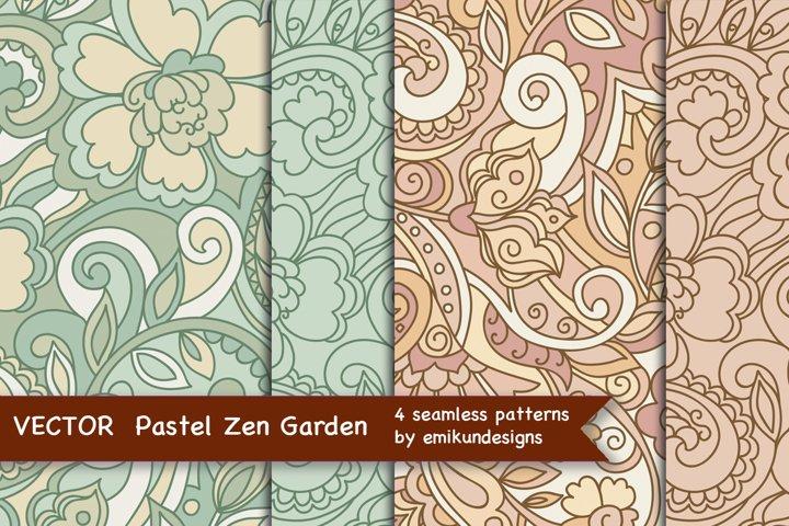 Pastel garden vector pattern