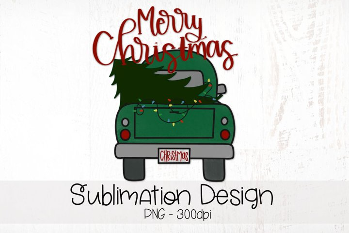 Merry Christmas, Vintage Farm Truck, Sublimation