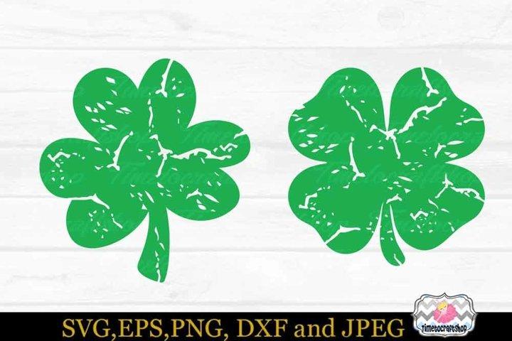 St Patricks Day, Distressed Shamrock, Irish SVG, Grunge SVG