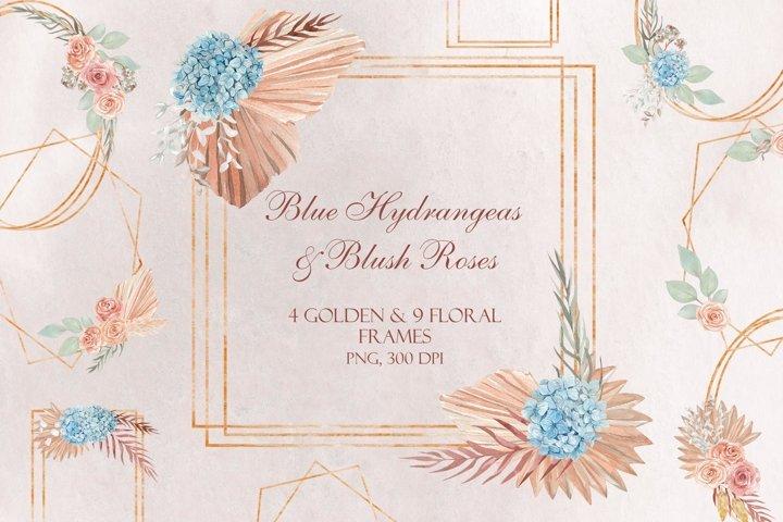 Blue Hydrangeas & Blush Roses Wedding. Golden Frames, PNG