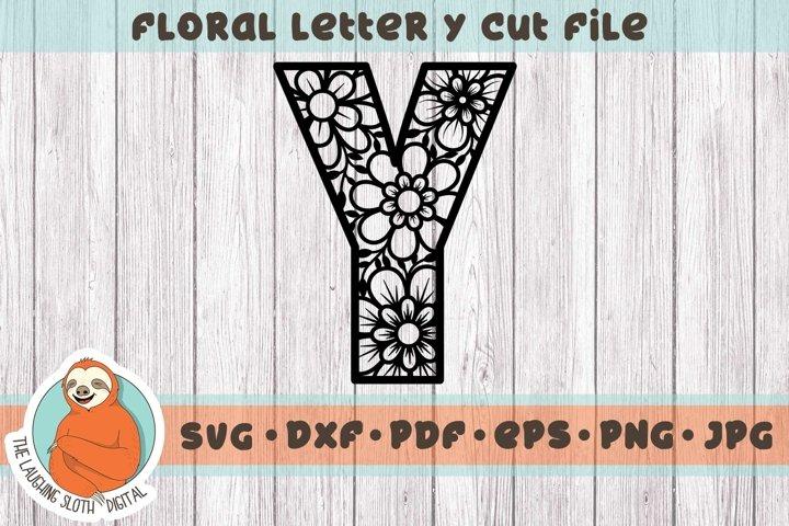 Flower Filled Letter Y SVG - Floral Letter Cut File