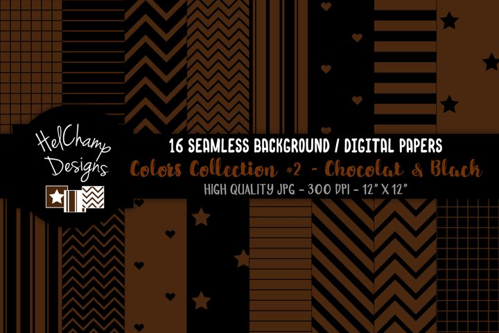16 seamless Digital Papers - Chocolat and Black - HC152