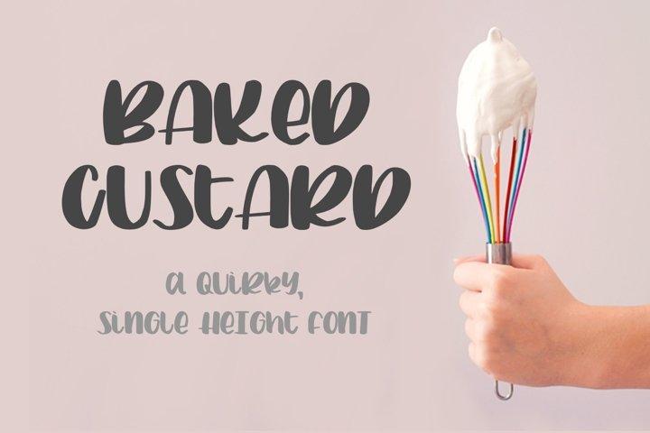 Baked Custard - a quirky, single-height sans script font
