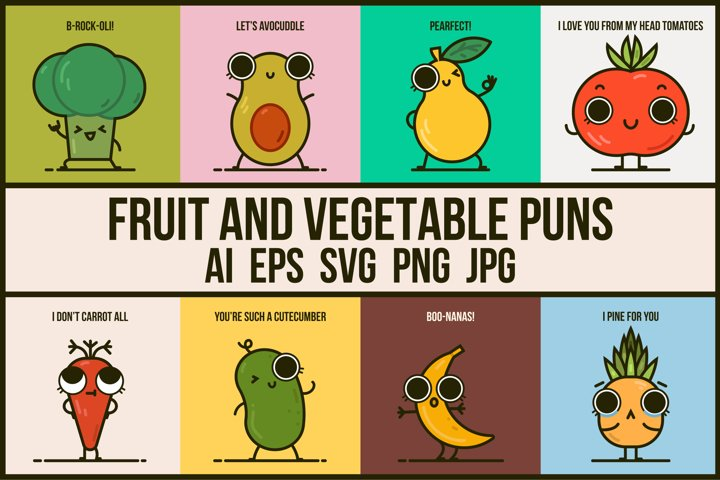 Fruit and vegetable puns bundle - Cute illustrations