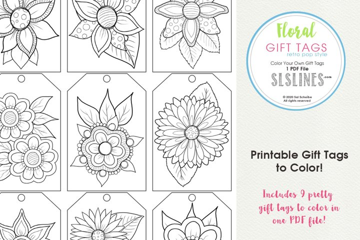 Retro Pop Flower Gift Tags to Color, Set of 9