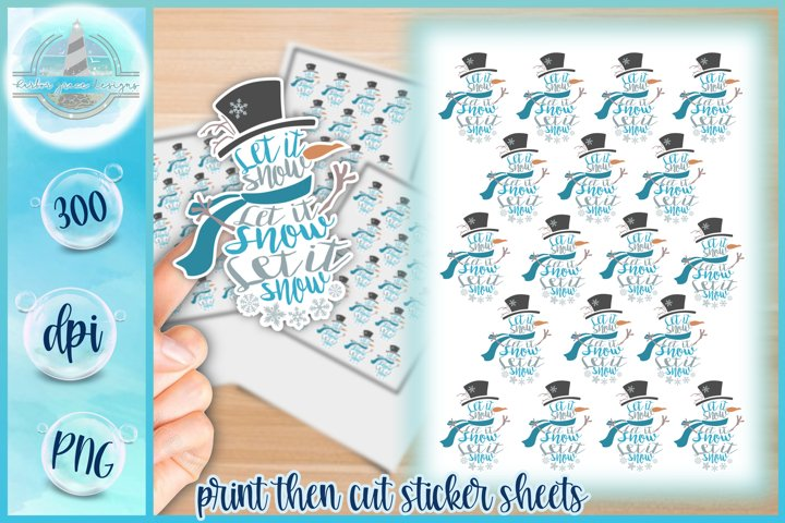 PNG Snowman Let It Snow Quote Christmas Printable Stickers