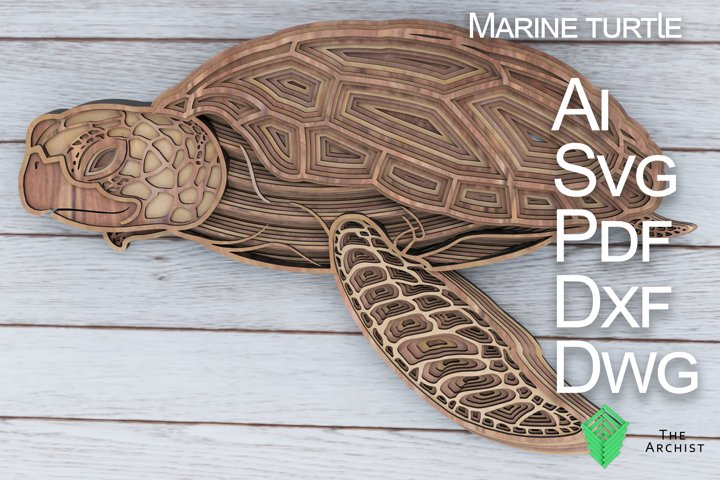 Multilayered svg, Sea turtle, Marine Turtle art,